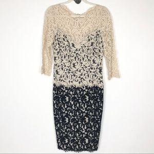 Tadashi Shoji Cream and Black Lace Dress